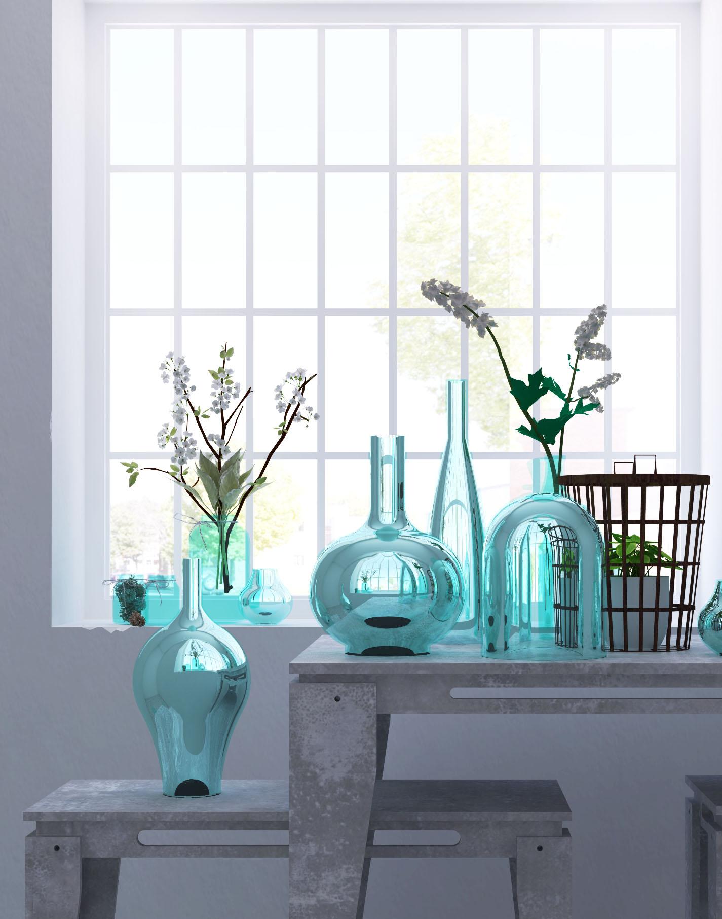 夏の飾り ブルーガラスの瓶