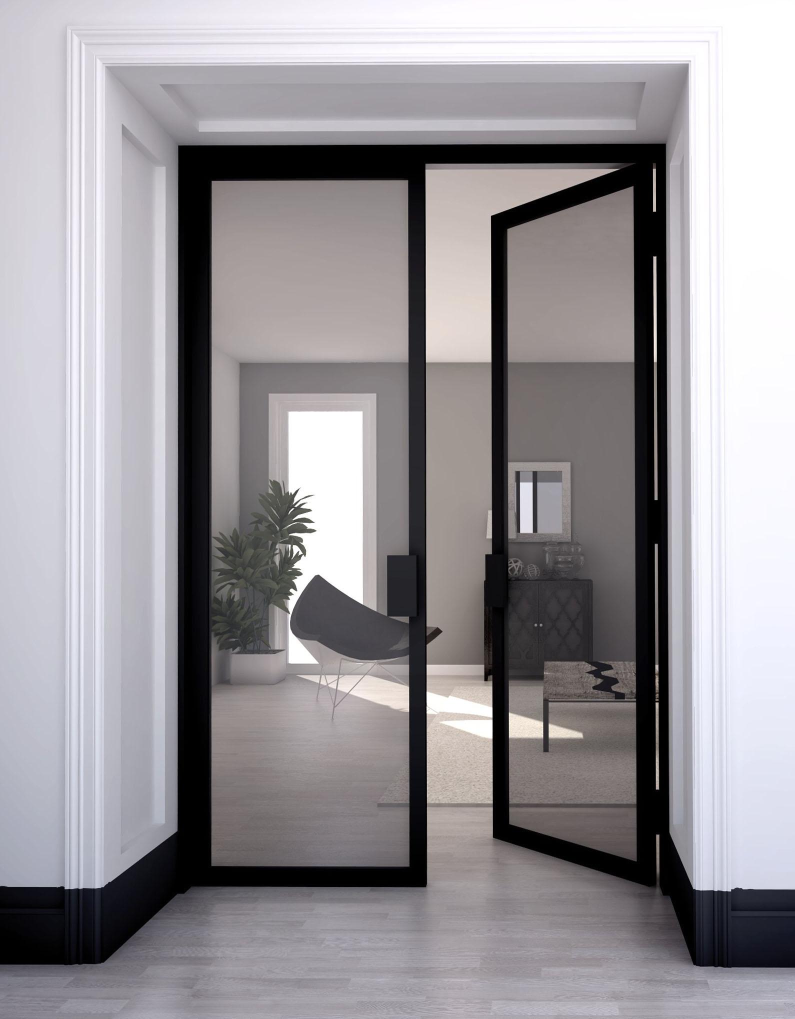 黒い枠のガラス戸で区切る