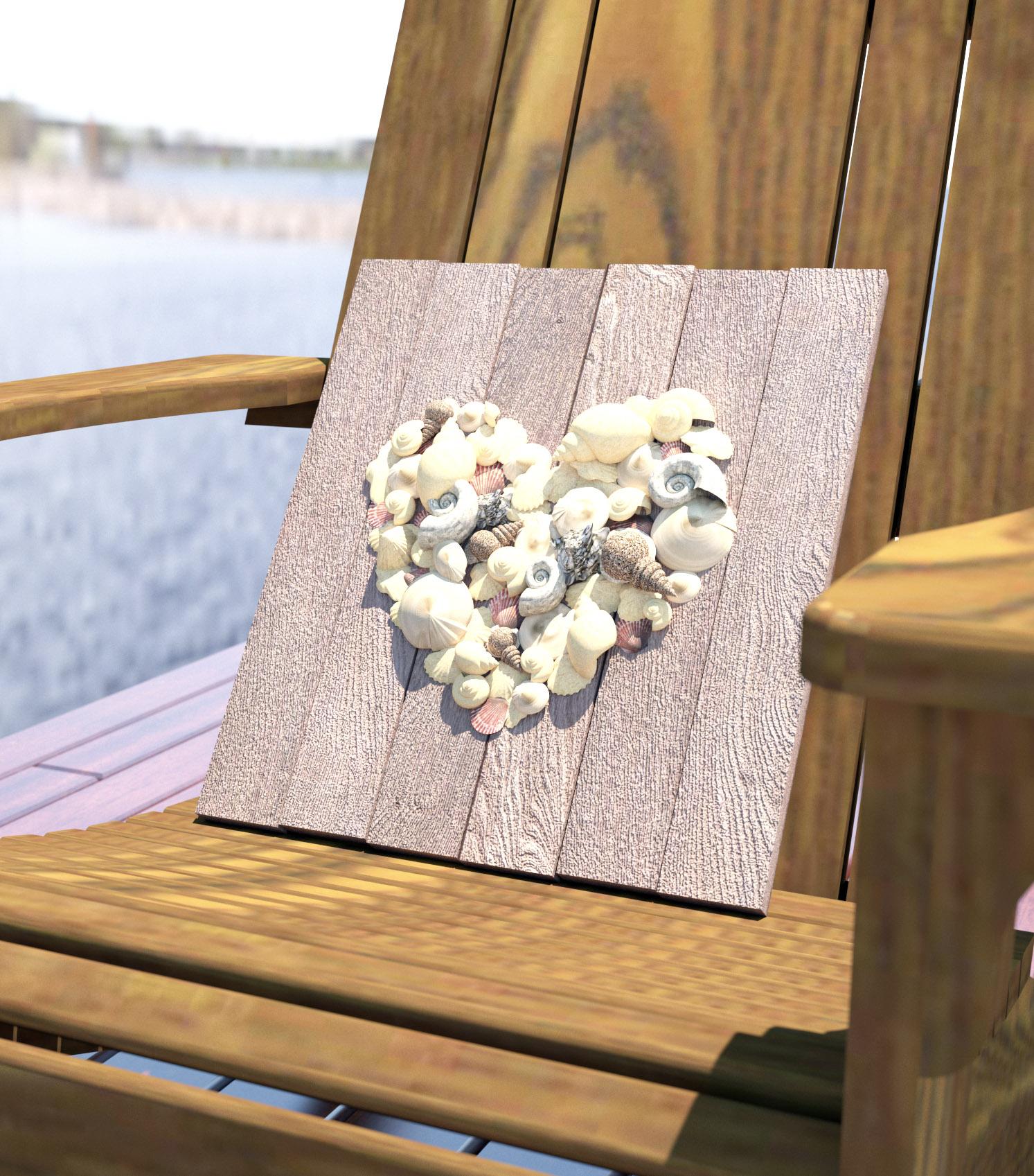夏の飾り 海の素材をハートの形に